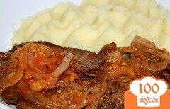 Фото рецепта: «Отбивные из печени с луком и томатом»
