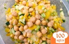 Фото рецепта: «Салат с нутом, огурцом и перцем»