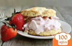 Фото рецепта: «Песочное печенье с клубничным йогуртом»