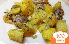 Фото рецепта: «Индюшиные сердечки запеченные с картофелем»