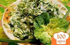 Фото рецепта: «Пекинская капуста с яйцами и зеленым чесноком»