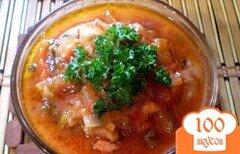 Фото рецепта: «Подливка томатная с жареными огурцами»
