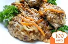 Фото рецепта: «Отбивные из говяжьей печени с овощами»