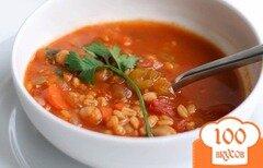 Фото рецепта: «Томатный суп с нутом, рисом и перловкой»