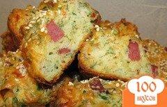 Фото рецепта: «Жгучие маффины с пепперони и салями»