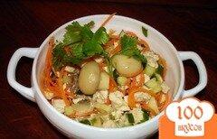 """Фото рецепта: «Салат """" Сочный"""" с корейской морковкой и курицей»"""