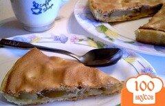 Фото рецепта: «Пирог с грушами под заварным белково-карамельным кремом»