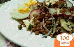 Фото рецепта: «Салат из желтой чечевицы, редиса и грибов»