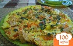 Фото рецепта: «Омлет с курицей и помидорами»