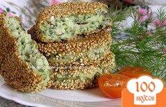 Фото рецепта: «Сырники с рисом и шпинатом в кунжутной панировке»