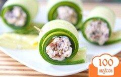 Фото рецепта: «Огуречные роллы с сыром фета»