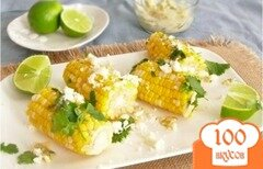 Фото рецепта: «Жареная кукуруза с сыром и зеленью»