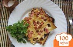 Фото рецепта: «Домашний пирог с колбасой и сыром»