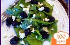 Фото рецепта: «Салат из шпината с ежевикой»