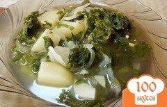 Фото рецепта: «Зеленый суп из листьев салата»