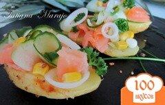 Фото рецепта: «Картофельные лодочки с копченой семгой..»