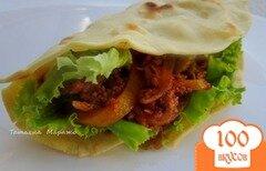 Фото рецепта: «Кукурузный лепешки с мясной начинкой»