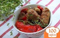 Фото рецепта: «Рулетики из фарша с тимьяном, запечённые со сладким перцем»