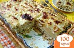 Фото рецепта: «Запеканка из фаршированных макарон под сырным соусом!»