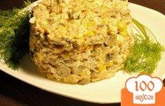 Фото рецепта: «Грибной салат с курицей и кукурузой»