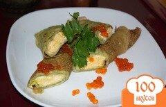 Фото рецепта: «Блинчики со шпитаном , сыром и икрой»