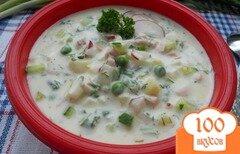 Фото рецепта: «Окрошка с зеленым горошком и ветчиной на йогурте»
