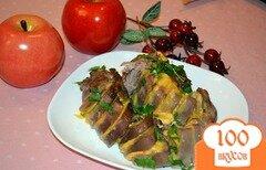 Фото рецепта: «Язык свиной запеченый со специями, чесноком и сыром»