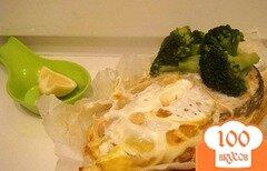 Фото рецепта: «Семга с броколли, запеченная в пергаментных лодочках»