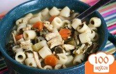 Фото рецепта: «Куриный суп с макаронами и шпинатом»