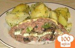 Фото рецепта: «Мясной рулет с брокколи и грибами»