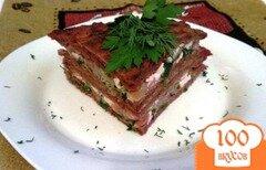 Фото рецепта: «Закусочный торт из свекольных блинчиков»