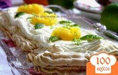 Фото рецепта: «Лаймовый торт-безе с имбирем и малиновым джемом»