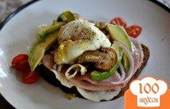 Фото рецепта: «Яйца пашот с ветчиной и грибами»