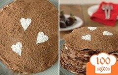 Фото рецепта: «Блинный шоколадный торт на завтрак»