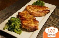 Фото рецепта: «Свиные отбивные с беконом под лаймовым соусом»