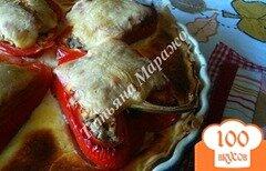 Фото рецепта: «Открытый пирог с фаршированными перцами»
