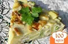 Фото рецепта: «Тортилья с луком, чесноком и зеленым горошком»