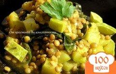 Фото рецепта: «Чечевица, томленная в морковном соке с кабачками и шпинатом»