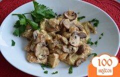 Фото рецепта: «Курица с грибами в сырном соусе»