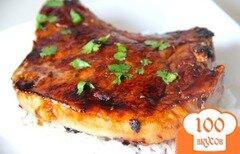 Фото рецепта: «Жареные свиные отбивные в соево-медовой глазури»