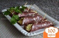 Фото рецепта: «Закусочные рулетики из колбасной нарезки»