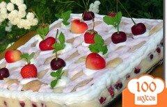 """Фото рецепта: «Десертный торт """"Клубнично-вишневая нежность""""»"""