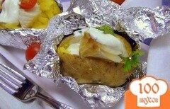 Фото рецепта: «Печёная картошка с холодной треской и сметанным соусом. Вкусные выходные.»