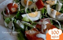 Фото рецепта: «Овощной салат с сухариками и сырным соусом»