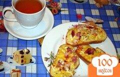 Фото рецепта: «Ароматные горячие гренки с сыром и копченым беконом»