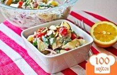Фото рецепта: «Картофельный салат с помидорами и луком под домашним соусом»