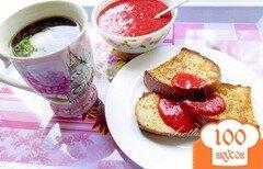 Фото рецепта: «Сладкие гренки с клубнично-мятным соусом»