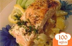Фото рецепта: «Семга с картошкой в горшочках»