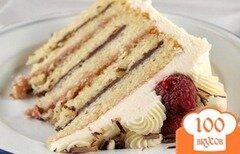 Фото рецепта: «Торт с малиновым кремом и ганашем»