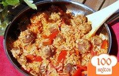 Фото рецепта: «Рисовая сковорода с мясными шариками и паприкой»